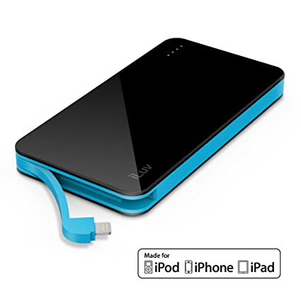 iLuv  Apple MFI Certified  Portable 5000 mAh Power Bank With Built-In  Lightning 8802ec107