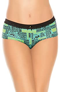 Laura Womens Boyshort Panty Lace Trim Printed Fabric