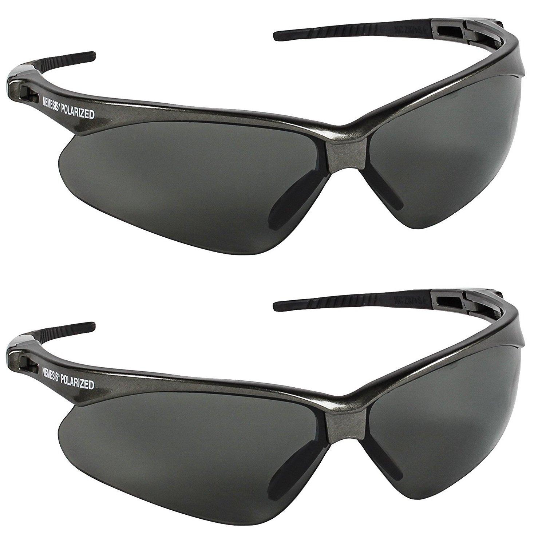 Jackson Safety V30 Nemesis Polarized Safety Glasses (2, Gun Metal Frame with Polarized Smoke Lens)