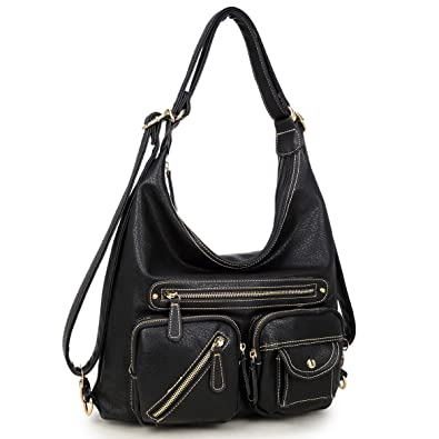 4b3e4985db35f7 Amazon.com: Womens Convertible Shoulder Bag Backpack Soft Vintage Multi  Pockets Hobo Handbag Designer Purse (Black): Shoes