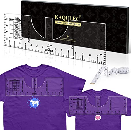 Tshirt Ruler Acrylic Tshirt Alignment Tool T-Shirt Ruler Guide for Vinyl and HTV Heat Press Transfer Graphic Placement (16