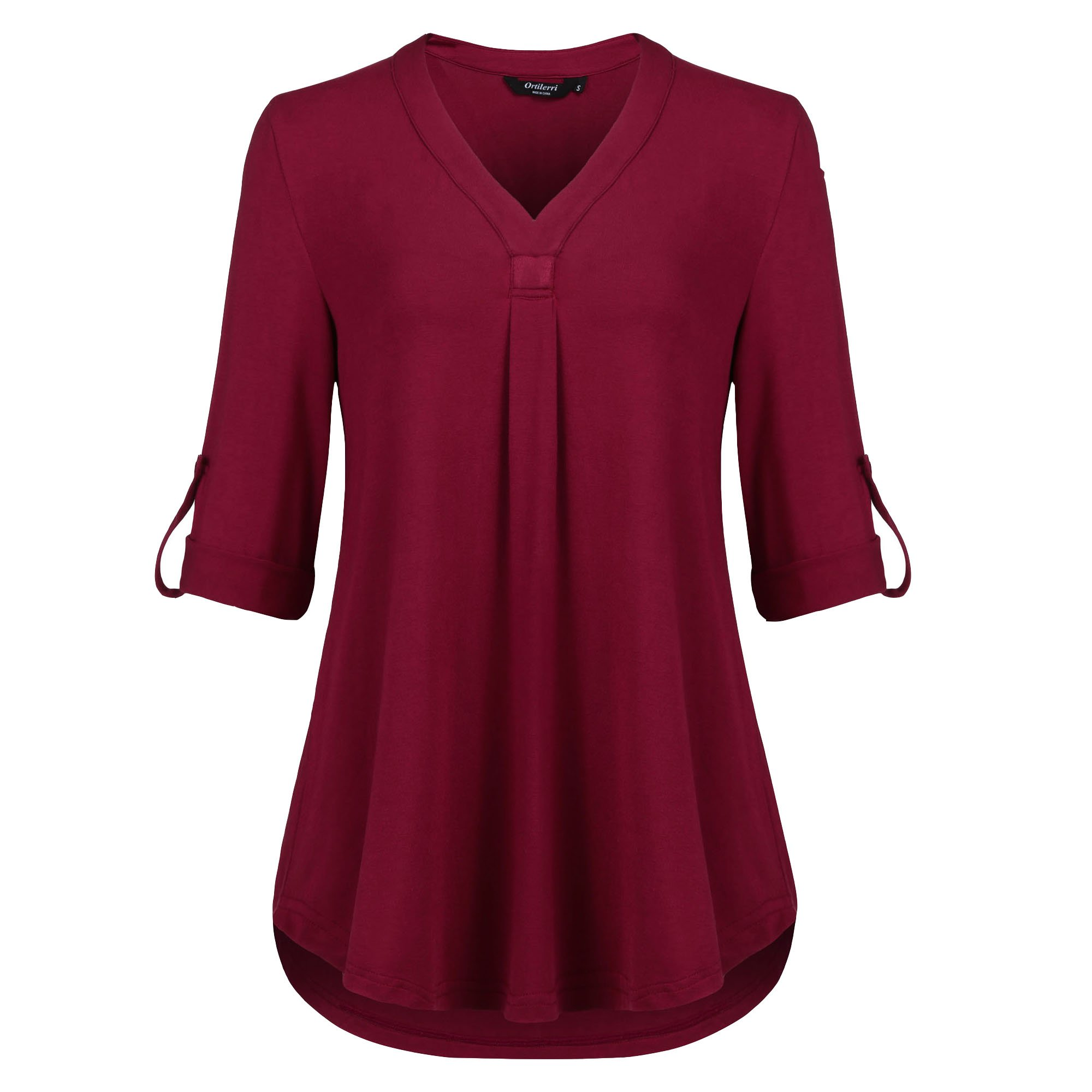 Ortilerri V Neck Roll-up 3/4 Sleeves Loose Fit Tunic Tops (Wine 02, XXL)