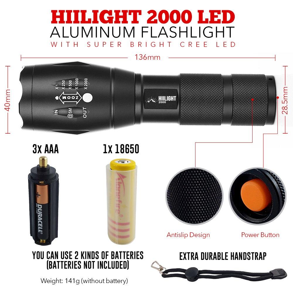 Zoombar Einstellbarer Fokus HIILIGHT LED Taschenlampe 2000 Extrem Hell CREE XM-L T6 Batterie oder Akku Schwarz