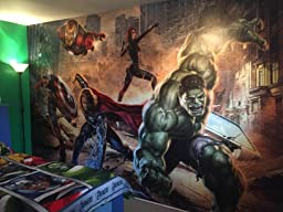 Komar marvel avengers street rage wallpaper mural vinyl for Avengers wall mural amazon