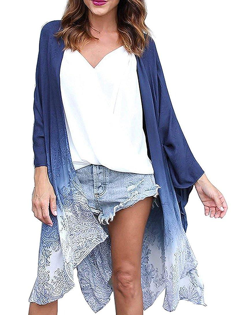096dc8ca86514 Floral Season Women Casual Loose Chiffon Long Kimono Cardigan Cover up  Outwear (Blue67, XXX-Large): Amazon.ca: Clothing & Accessories