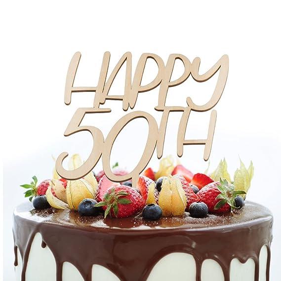 Decoración para tarta de 50 cumpleaños, diseño con texto en ...