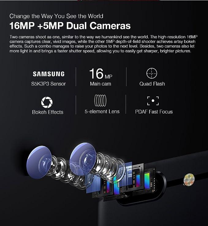 Ulefone T1-5,5 Pulgadas FHD 4G versión Global Android 7.0 Smartphone, Helio P25 CPU Octa Core 2.6GHz, 6GB RAM + 64GB ROM, Triple cámaras (13MP + 5MP + 16MP) ...