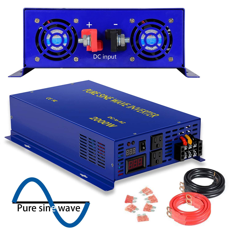 2500 Watt Pure Sine Wave Inverter 12V DC to 120V AC, 2500W Power Invert Surge 5000W Power Converter for Solar System. (2500W 12V 120V) by XYZ INVT
