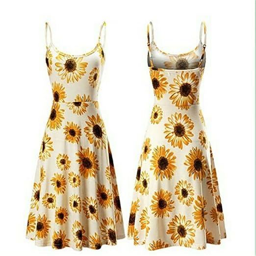 653a35fa0f3e amazaramu vivi Womens Sleeveless Fit and Flare Floral Printed Summer Beach  Swing Sun Dress Spaghetti Strap Dresses