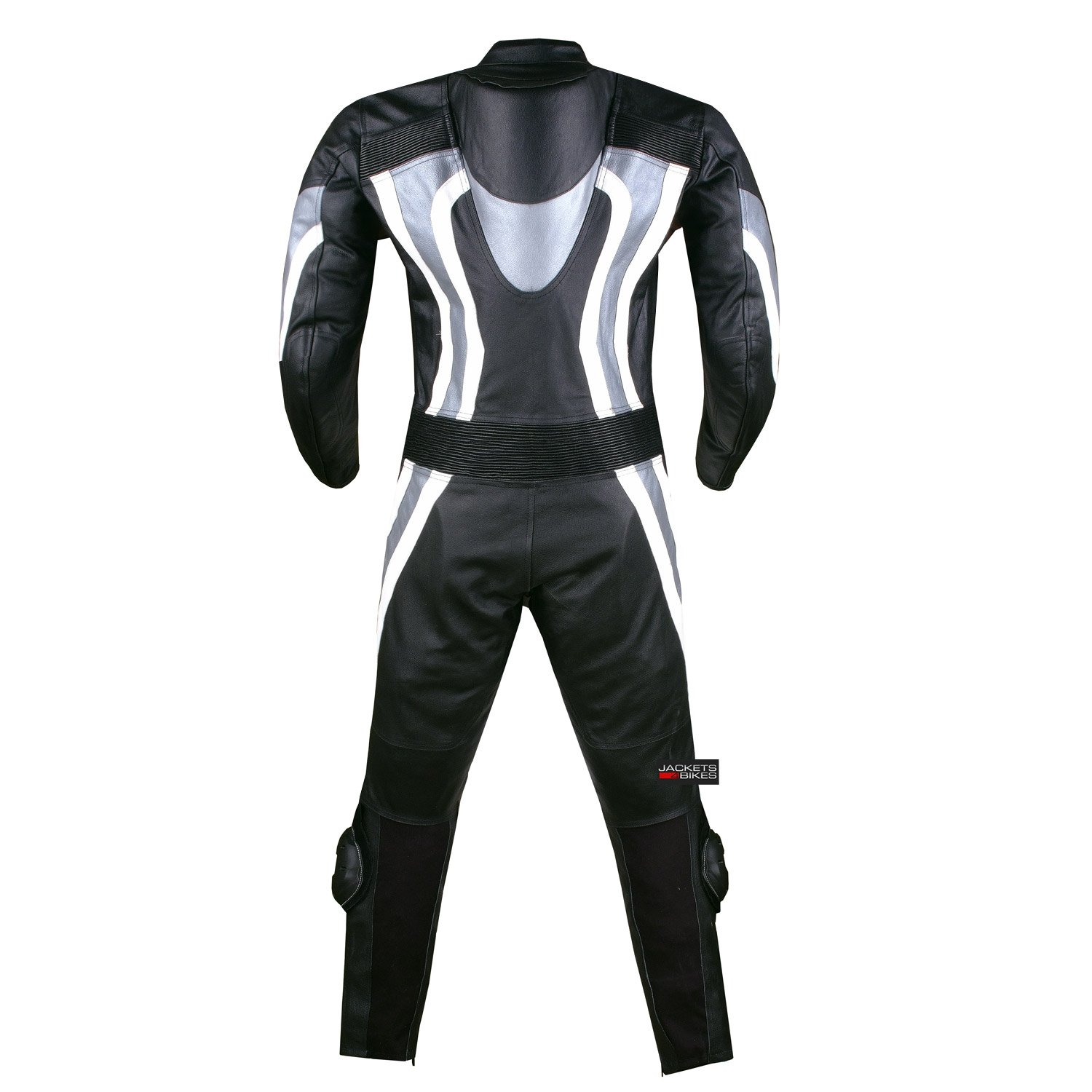 New 1PC One-Piece Armor Leather Motorcycle Racing Suit Silver w/Hump US Size 40 by Jackets 4 Bikes (Image #3)