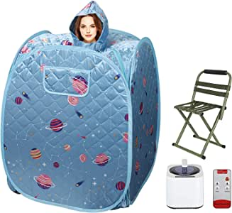 Portable Personal Sauna, 2.2L One Person Home Sauna Spa, Full Body Steam for Weight Loss Foot Rest, with Storage Bag, Remote Control, Fumigation Machine, Stool (Blue)