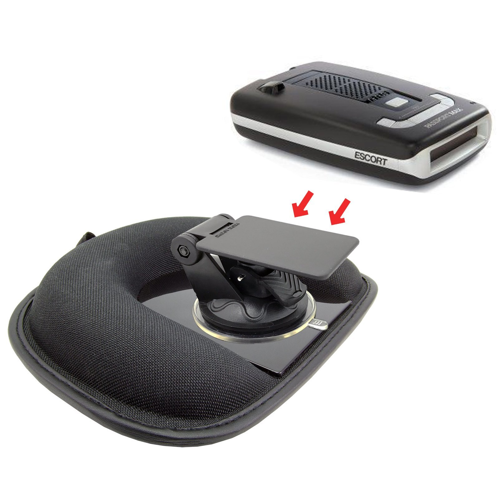 AccessoryBasics Car Dashboard Platform Beanbag & Suction Cup Mount for Radar Detector Escort Passport 8500x50 9500 Max S55 X80 Redline EX iX S3 S4 Beltronics Uniden R3 Whistler Cobra ESD XRS SPX by ChargerCity (Image #3)