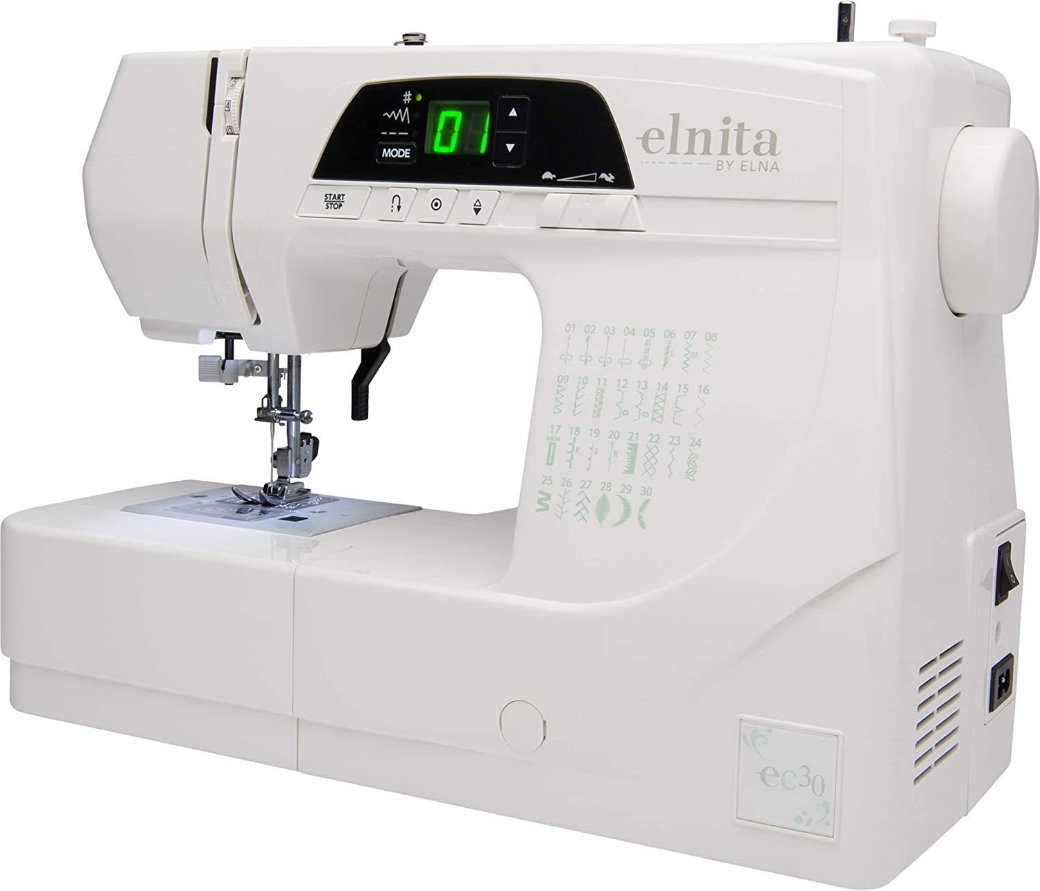 Elnita EC30 Computerized Sewing Machine with 30 Stitches, LED ...