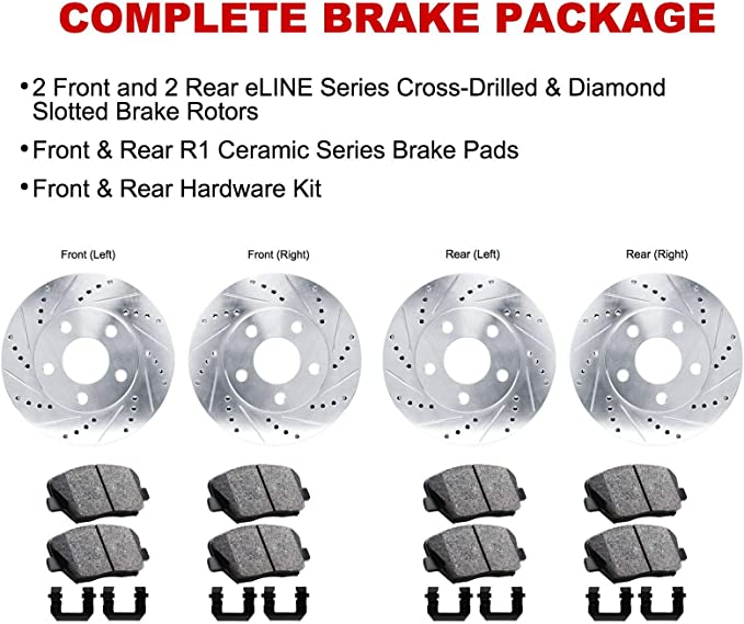 300mm REAR Drilled Brake Rotors Ceramic Pad for 2011 2012 2013 2014 Ford Mustang