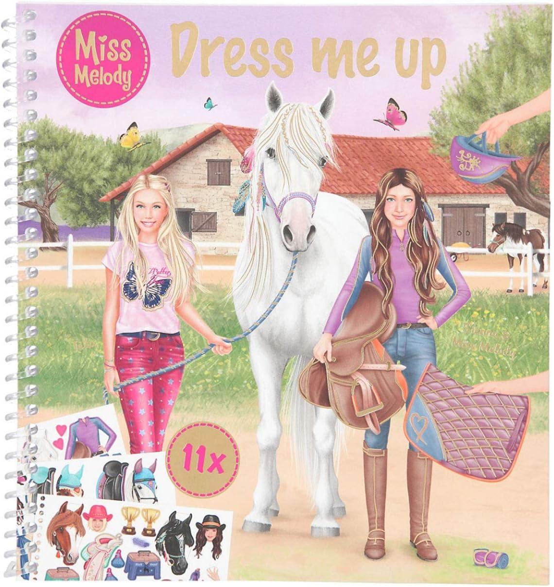 Depesche 11498 Miss Melody Dress me up-Libro 24 páginas y 11 Hojas de Pegatinas, Aprox. 17,78 x 19 cm para Crear Grandes Trajes para Jinetes y Caballos, Color carbón