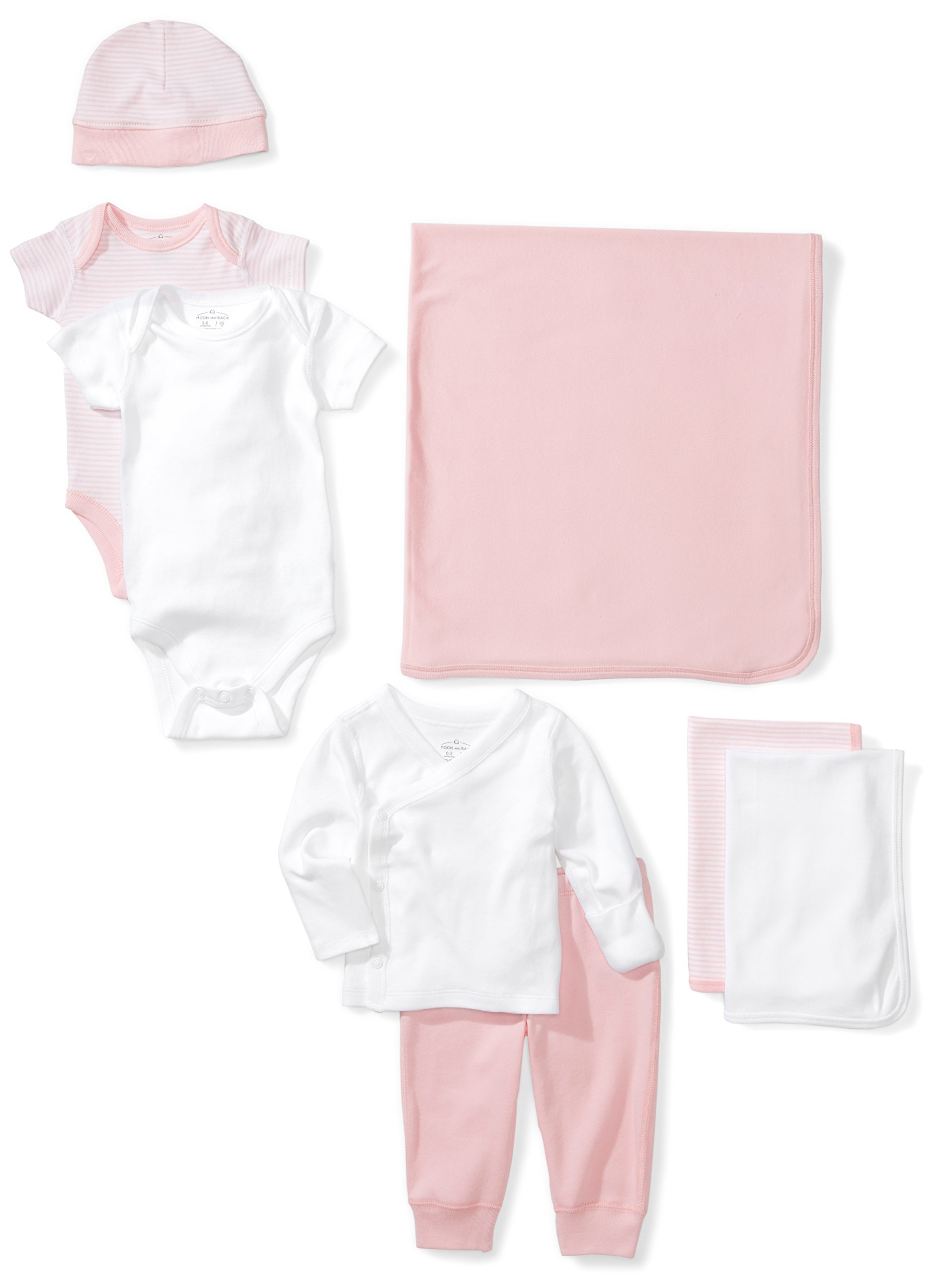 Moon and Back Baby 8-Piece Organic Playtime Gift Set, Pink Blush, 0-3 Months by Moon and Back