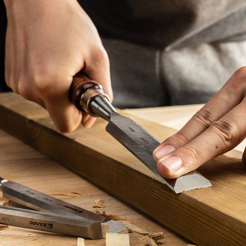 EZARC 6pc Wood Chisel Set for Woodworking - CRV Steel with Black Walnut Handle in Wood Storage Box ... by EZARC (Image #6)