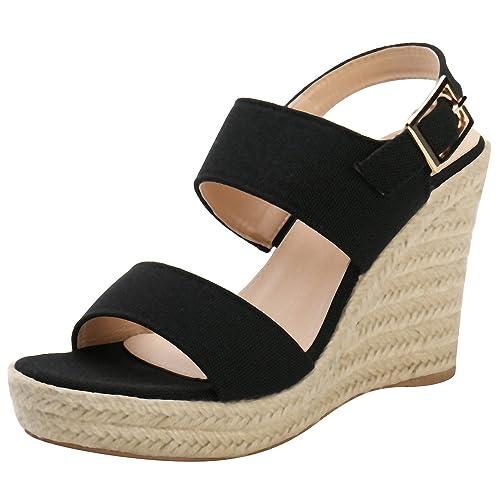 5e1fc8f3c8 Alexis Leroy Women Sling Back Buckle Strap Espadrille Wedge Heel Sandals  Black 4 UK / 37 EU: Amazon.co.uk: Shoes & Bags