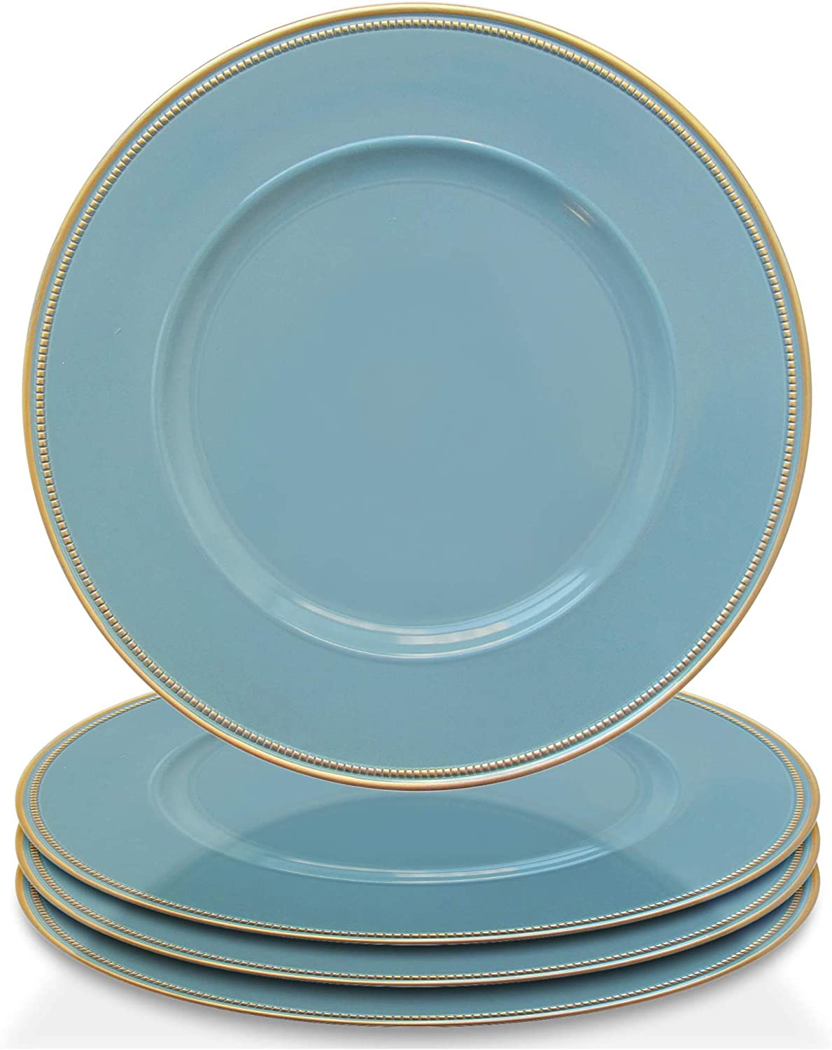 """Elle Decor Accent Rim Set of 4 Charger Large 13"""" Decorative Melamine Service Plate for Home & Professional Fine Dining-For Catering Events, Dinner Parties, Weddings, Blue"""