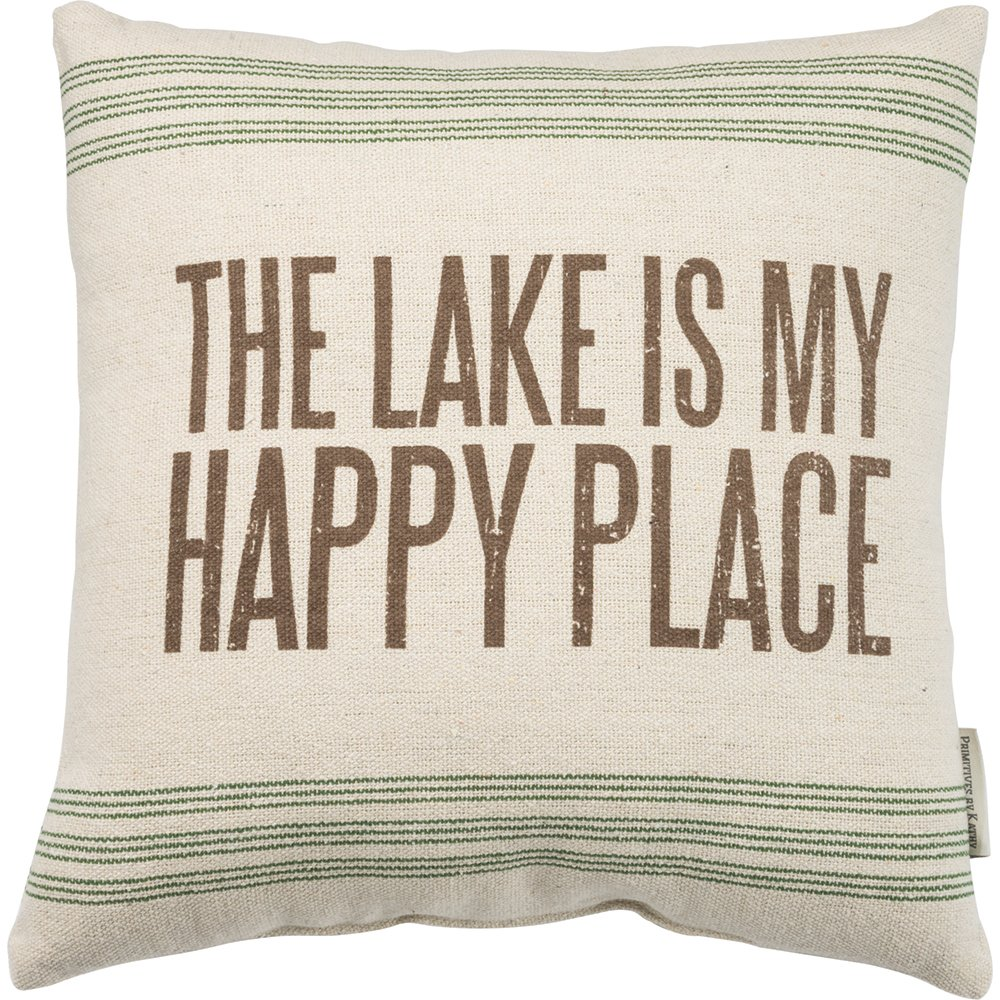 Primitives by Kathy Vintage Flour Sack Style the Lake Is My Happy Place Throw Pillow, 15-Inch Square by Primitives by Kathy