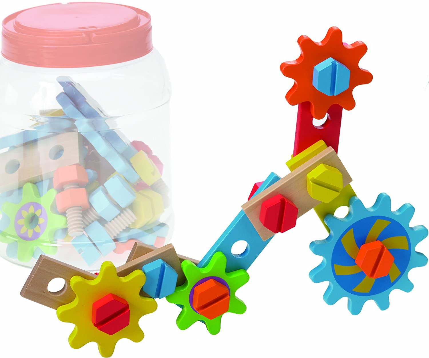 Amazon.com: The Original Toy Company Wooden Gears and Bolts with ...