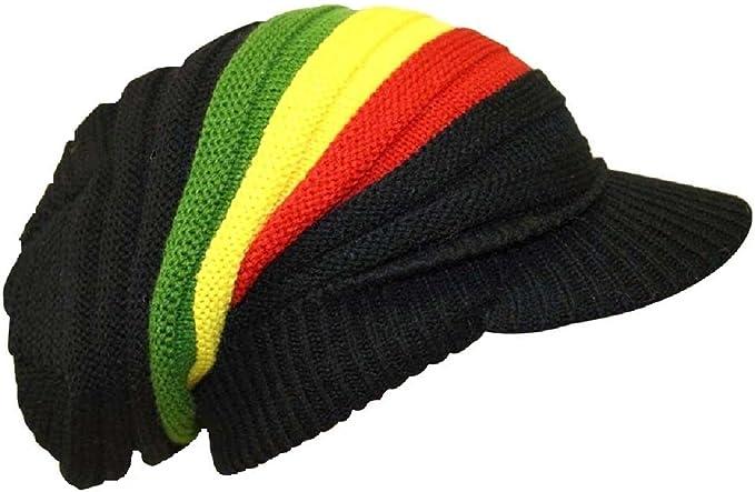 8830d2d8b5b18 Bob Marley Rasta Estilo Slouch Beanie Gorro de Punto Reggae Largo Baggy con  Pico Bolsa sellada Caja Rastafari Colores.  Amazon.es  Ropa y accesorios