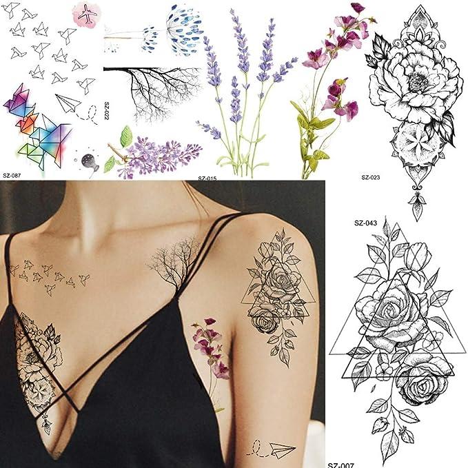 BRT Papel Plano Temporal Tatuaje Pegatina Mujer Cuerpo Arte Arte ...