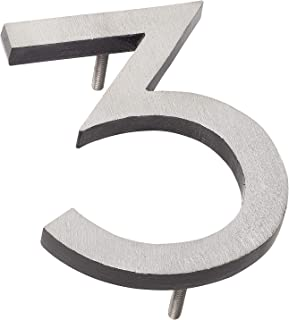 """product image for Montague Metal Products MHN-06-F-BK2-3 Solid Brushed Aluminum Modern Floating Address House Numbers, 6"""", Satin Nickel Powder Coated Black Two-Tone"""