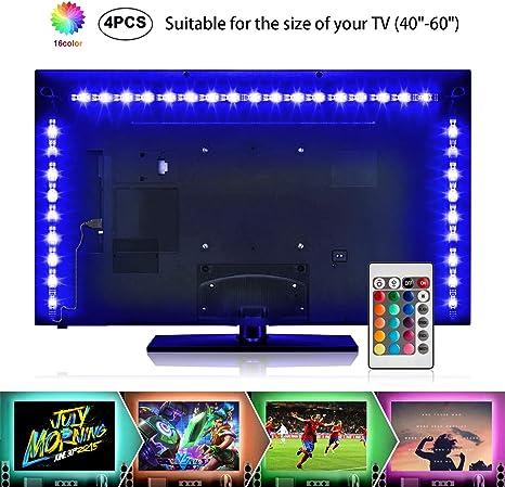 Creatrek - Tira de luz trasera para televisor RGB, impermeable, fuerte, adhesiva, LED, USB, luz de TV, luz ambiental para el cine en casa: Amazon.es: Electrónica