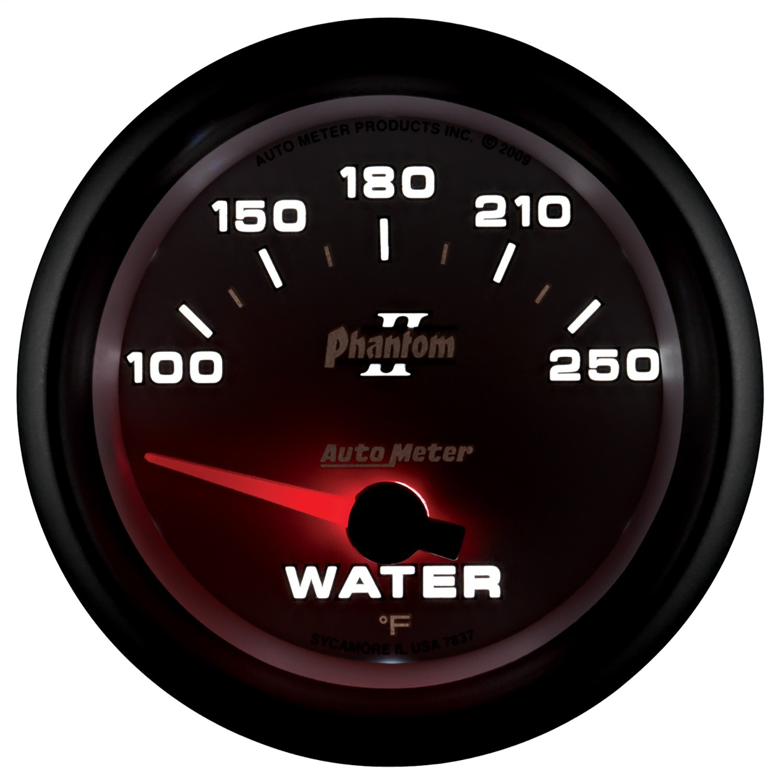 Auto Meter 7837 Phantom II 2-5/8' 100-250 Degree F Short Sweep Electric Water Temperature Gauge