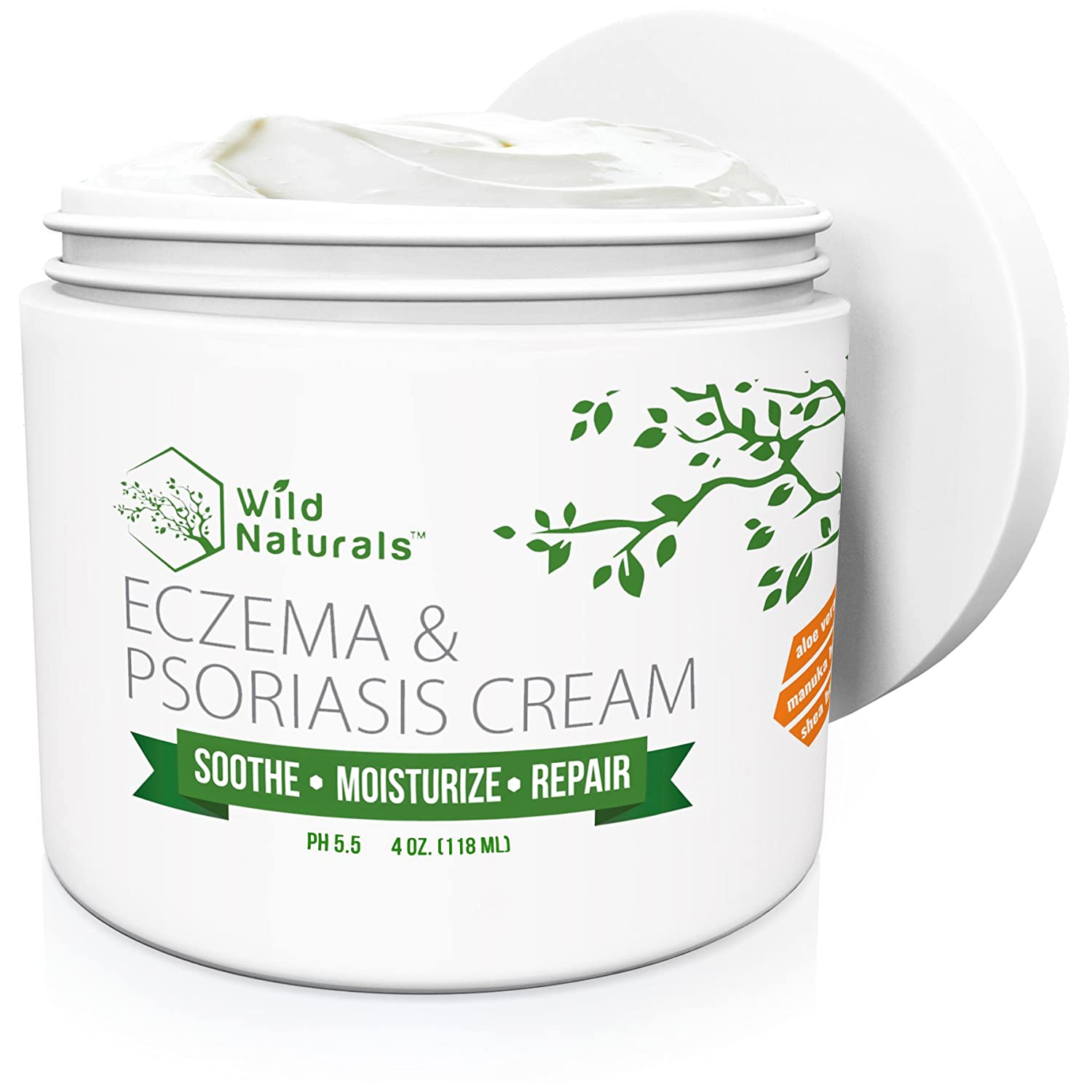 Wild Naturals Eczema Psoriasis Cream - for Dry, Irritated Skin, Itch Relief, Dermatitis, Rosacea, and Shingles. Natural 15-in-1 Formula Promotes Healing and Calms Redness, Rash and Itching Fast