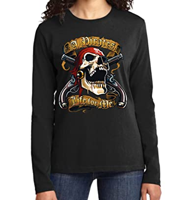 Velocitee Ladies T-Shirt A Pirates Life For Me Pirate Skull A21905
