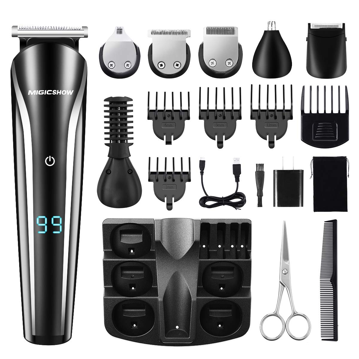 Beard Trimmer For Men, MIGICSHOW Cordless Hair Clippers Waterproof 12 in 1 Multi-functional Mustache Trimmer Grooming Kit for Nose Ear Beard Hair with LED Display, Body Trimmer USB Rechargeable