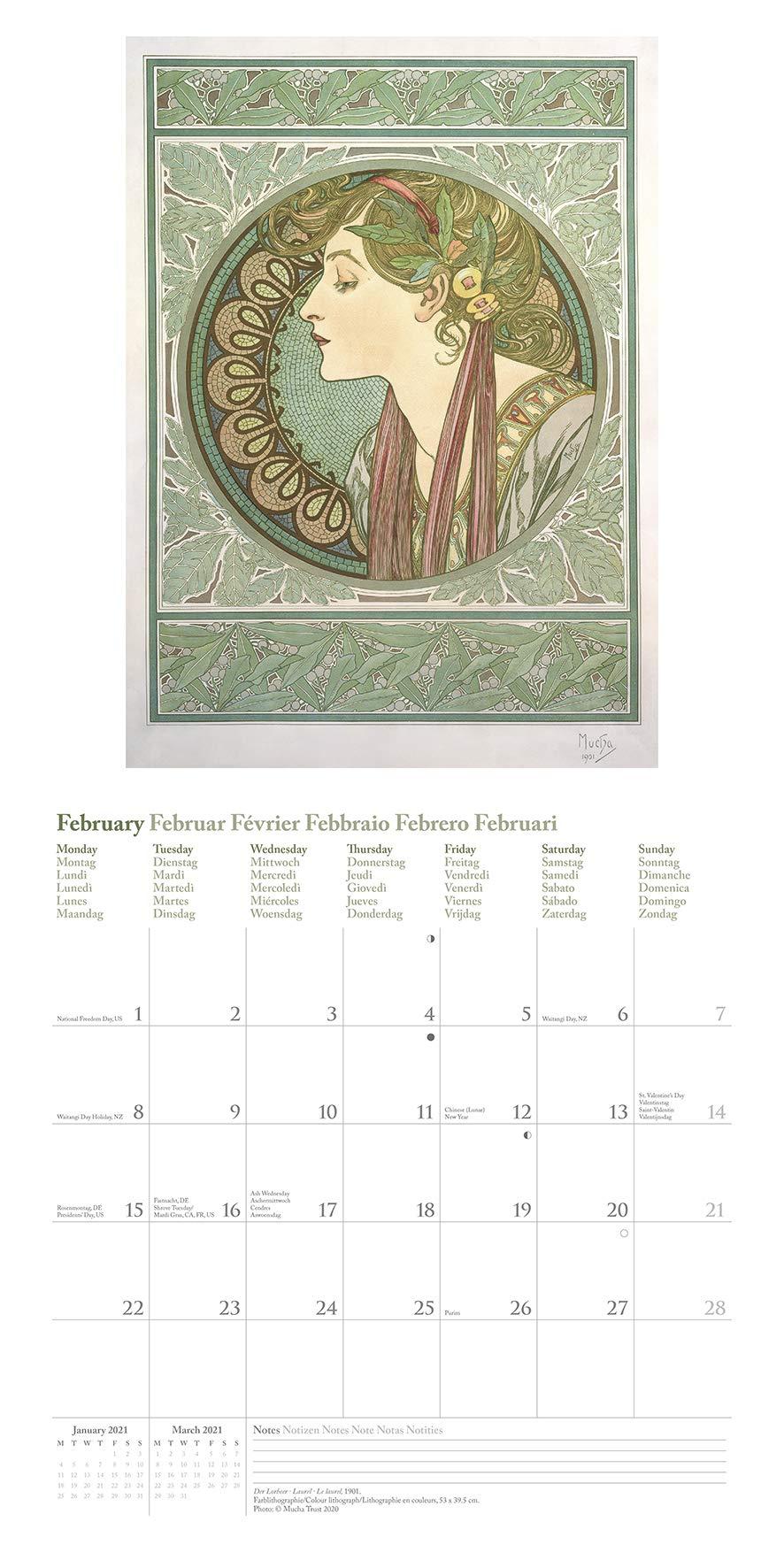 Mucha 1 Wandkalender 30 x 30 cm 2020  Broschürenkalender