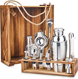 WAYES Professional Bartender Kit include 15 Pieces Bar Ware Accessories and Wooden Box with Separated stand, Cocktail Shaker Set to Mix Drink, Bar Ware Gifts for Home and Office Mini-Bar