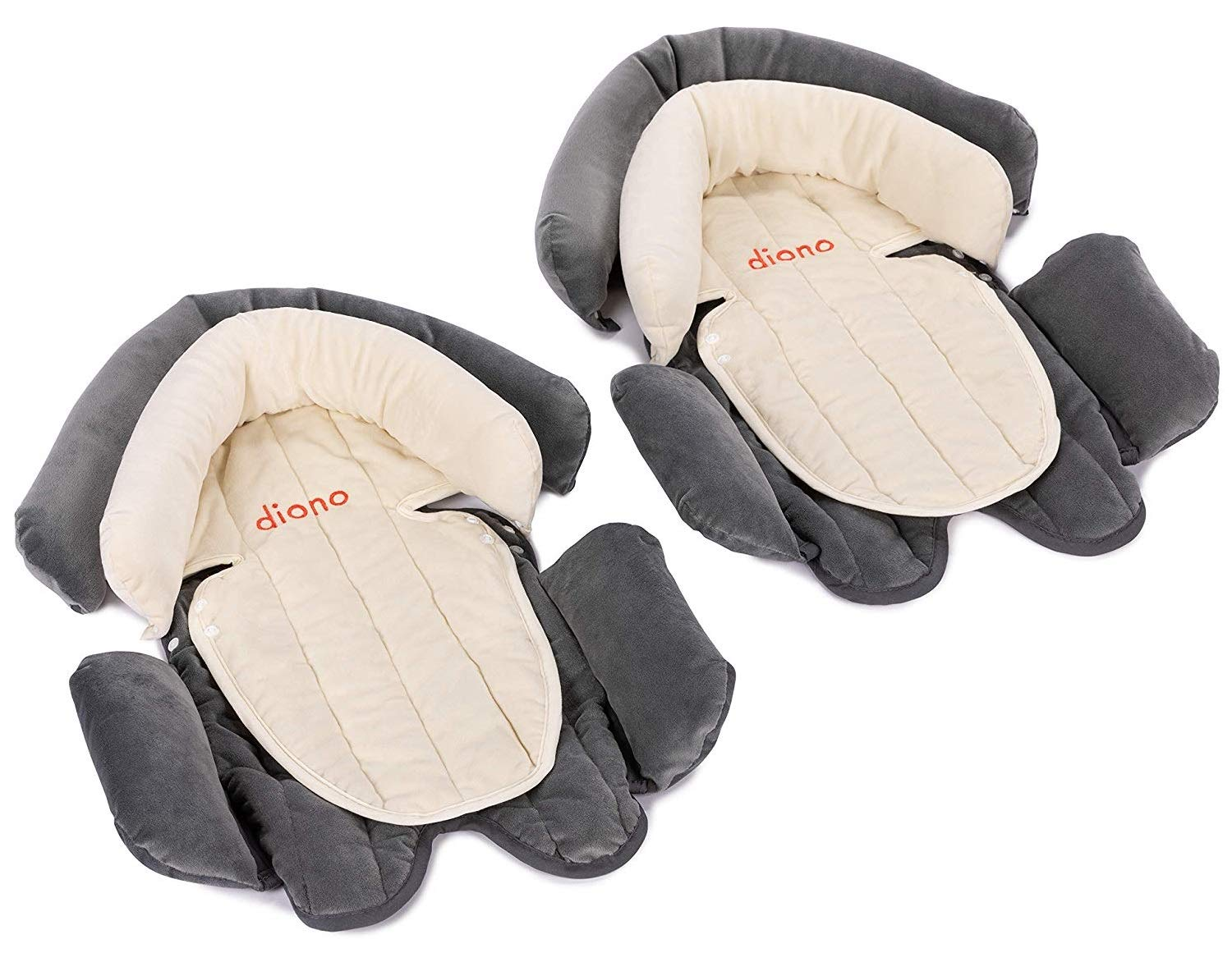 Cuddle Soft 2-Pack Grey//Ivory Diono Two2Go 2-in-1 Head Support