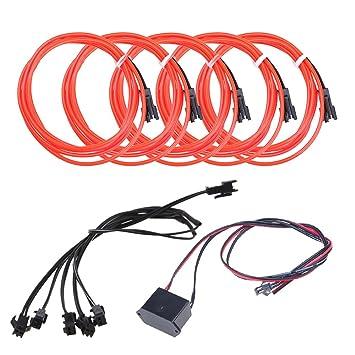 5pcs Neon Beleuchtung 1m EL Kabel Wire mit DC 12V Kontroller ...