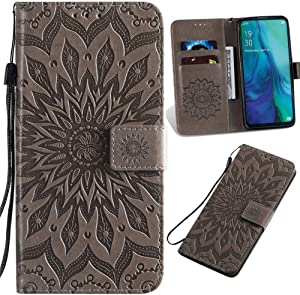 XYX Wallet Case for J2 Core, J2 Pure Case, Sunflower Embossed Flip PU Leather Wallet Case Cover for Samsung Galaxy J2 Core/J2 Dash/J2 Pure/J2 2019 (Grey)