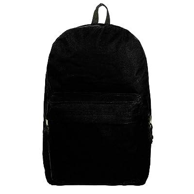 18in Classic Backpack Basic Bookbag Simple School Book Bags Vintage Emergency Daypack w/Padded Back & Side Pocket | BLACK | Kids' Backpacks