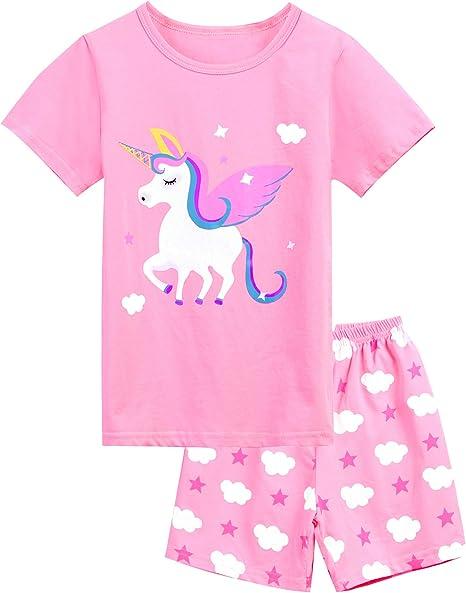 Girls Pajamas Children Kids Cat Sleepwear 100/% Cotton Short Set