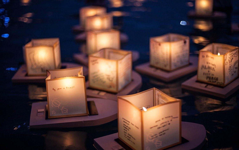 Toner Depot Water Floating Candle Lanterns Outdoor Lanterns for Praying Set of 20 Gold