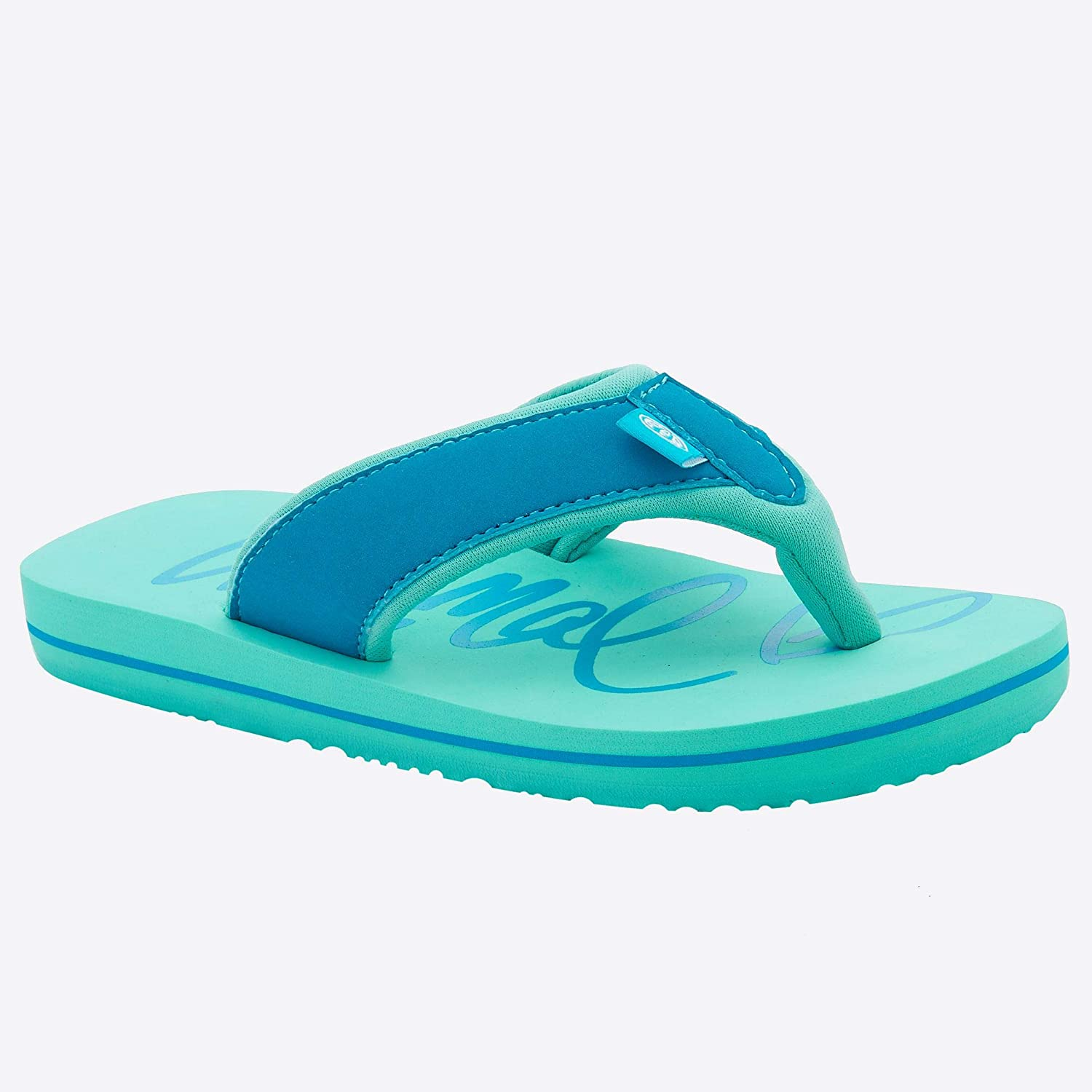 PEACOCK BLUE GIRLS ANIMAL /'SWISH LOGO/' FLIP FLOPS