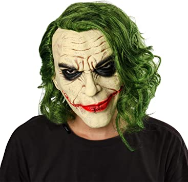 Nofonda Joker Máscara de Látex con Cabello Verde, Payaso Máscara ...