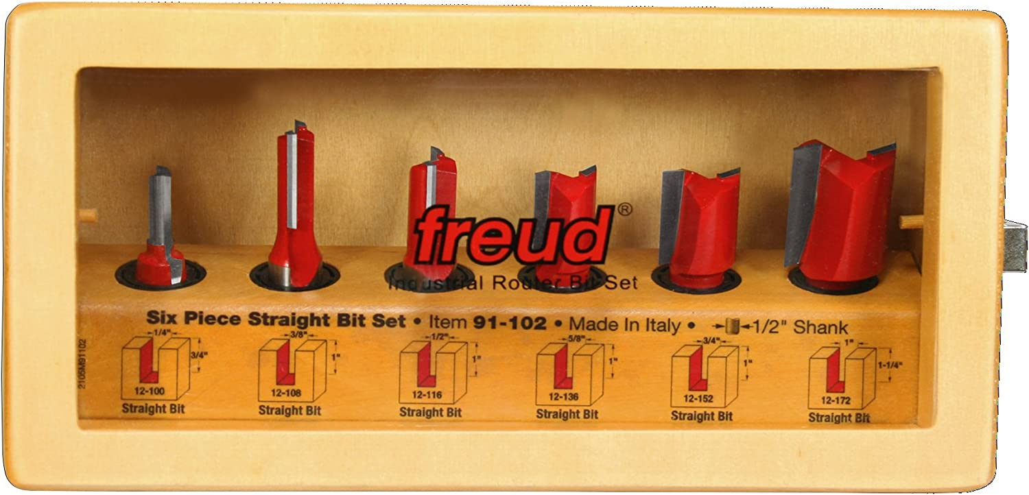 "B000022602 Freud 6 Piece Straight Bit Set (1/2"" Shank) (91-102) 71cD-Q7RJhL"