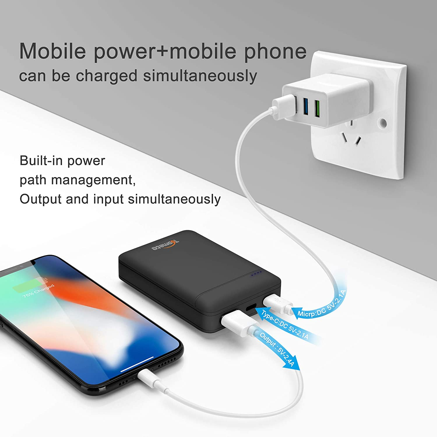 Topmate Power Bank Portable Charger 10000mAh Mini External Battery | 1 Micro & 1 Type-C Input 2.1A | Smart USB Output 2.4A | Backup Battery Packs for ...