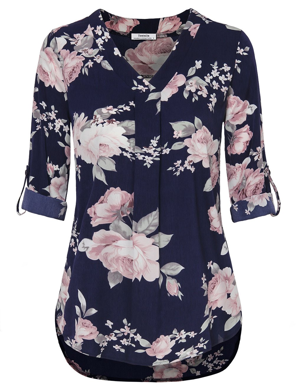 Youtalia Floral Tops for Women, Ladies Summer Casual 3/4 Cuffed Sleeve Office Blouse V Neck Pleated Chiffon Tunic Shirt Multicolor Blue Large