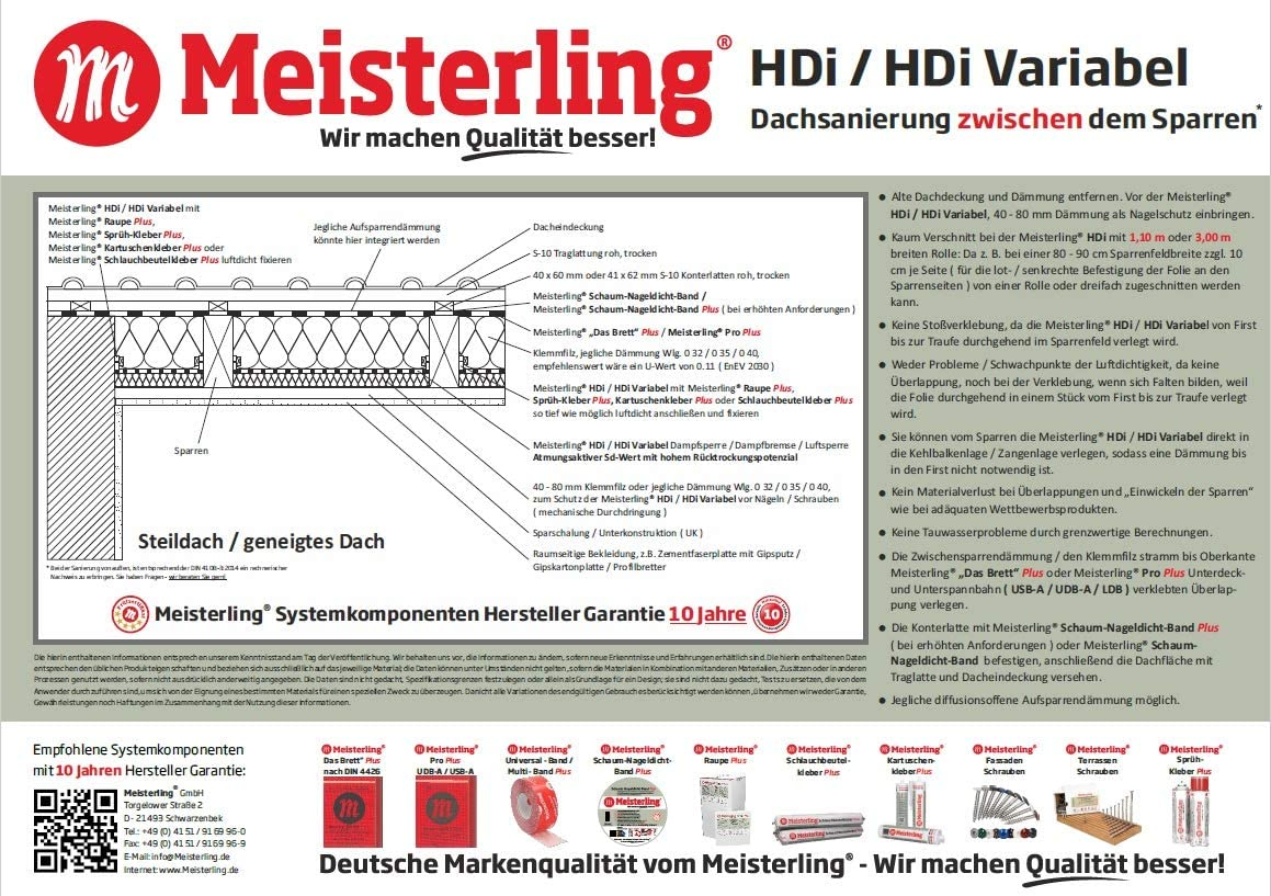 -adaptiv Meisterling HDi Variabel Dampfbremse//Dampfsperre feuchtevariabel