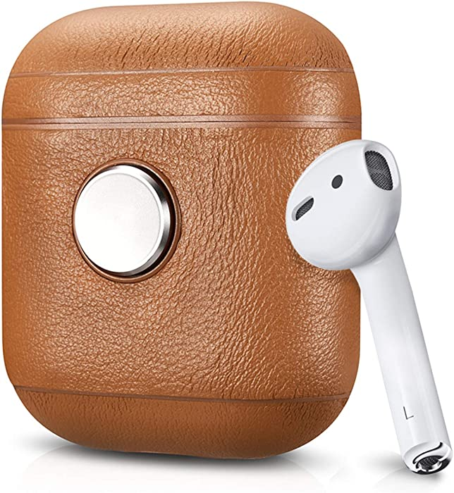 ZenPod - Spinning Leather Case for Apple AirPods (Airpods, AirPods 2, and Wireless Charging Case), Air Vinyl Design, Fidget Spinner Leather Case for AirPods (Brown/Silver)