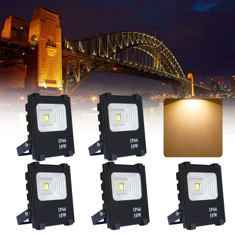 5*10W Proyector LED Cálido blanco - Reflector LED Aluminium IP65 ...