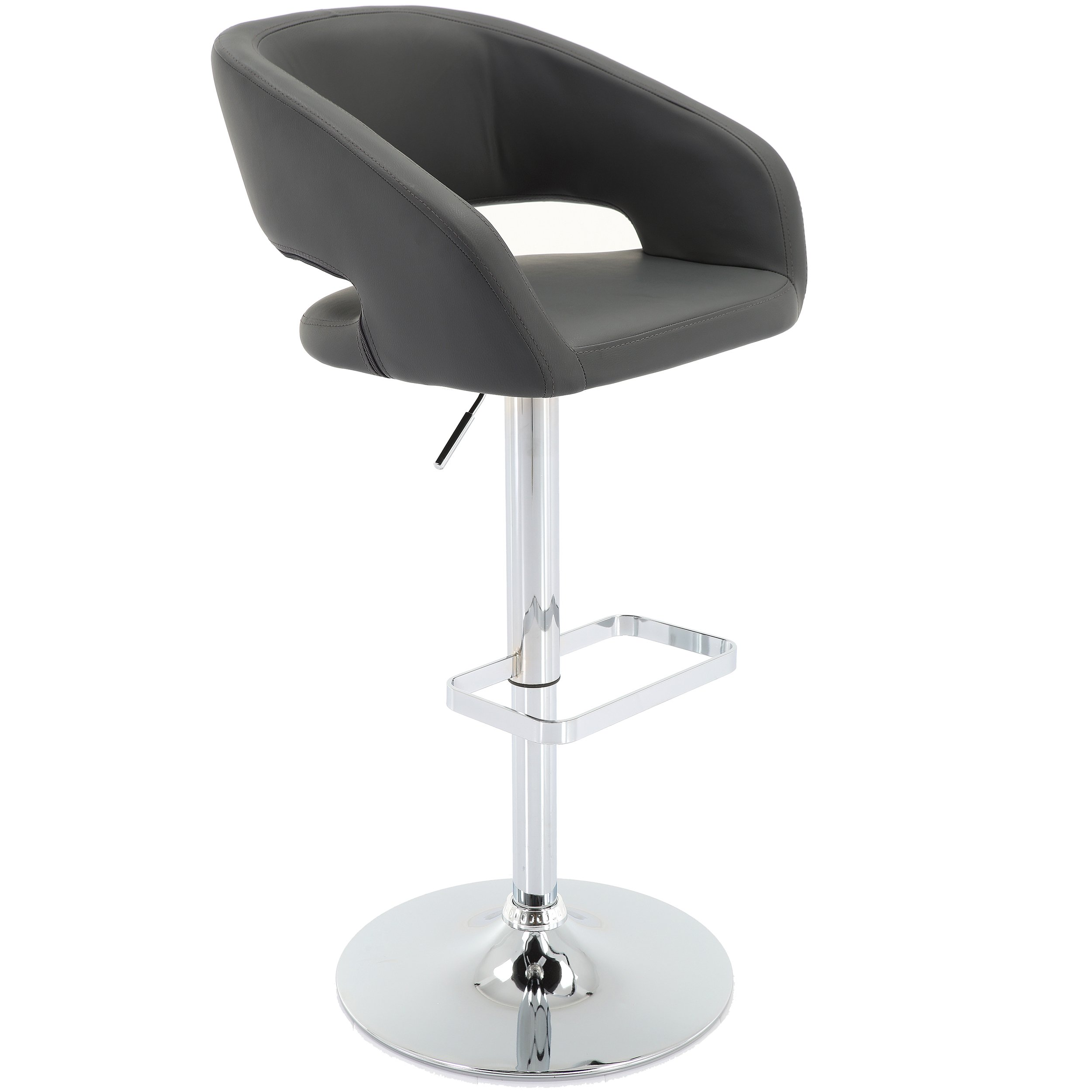 Vogue Furniture Direct Adjustable Leather Barstool, Grey (VF1581035)
